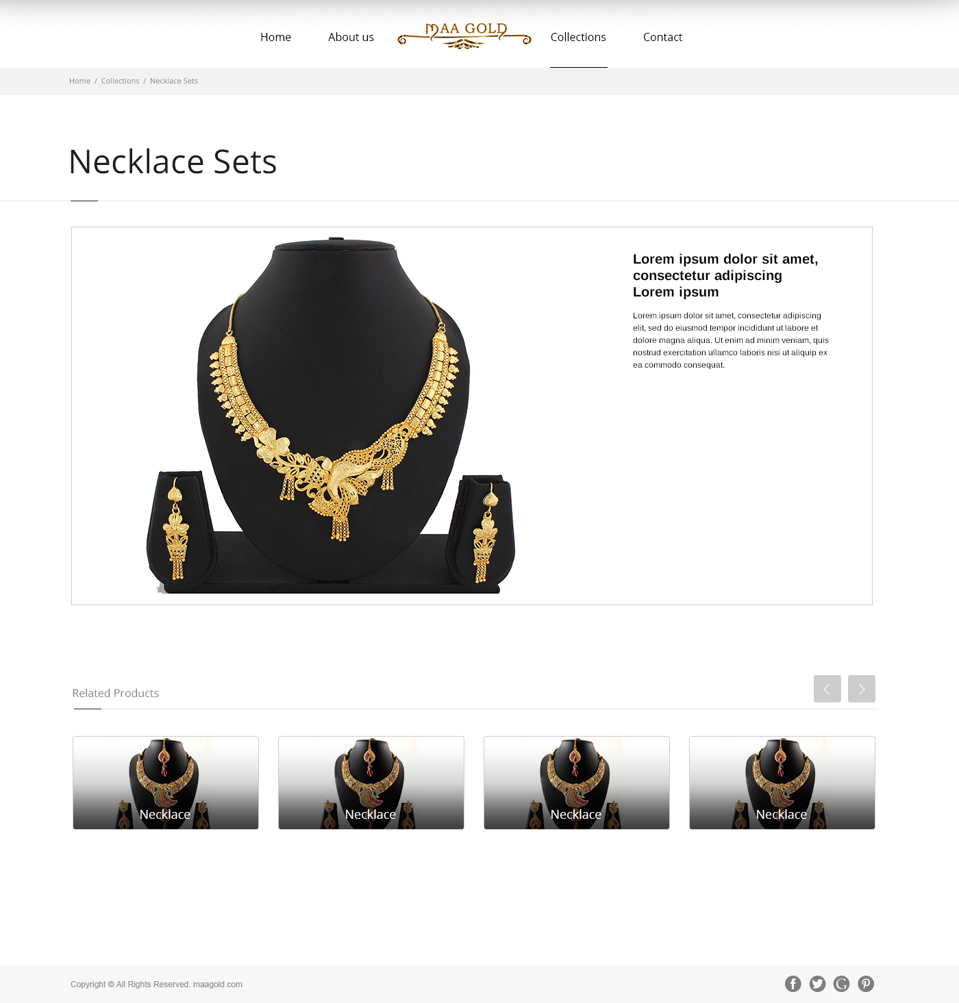 Website design for Maa Gold