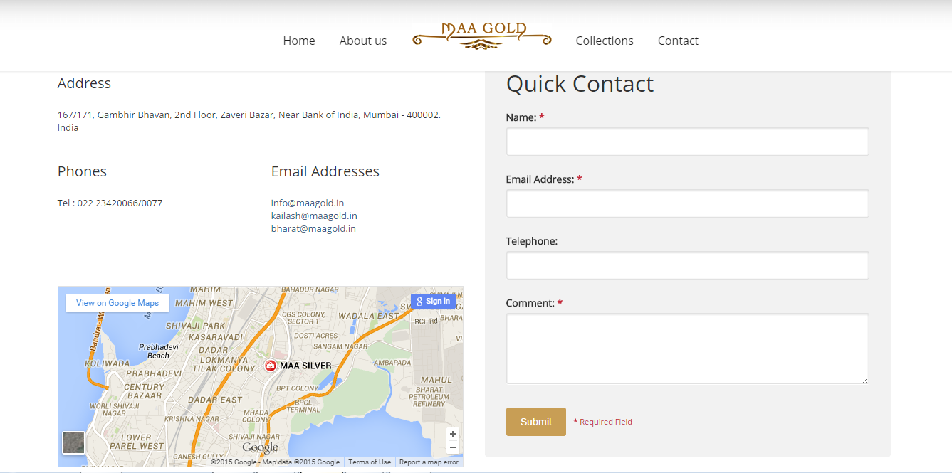 Maa Gold Contact Page